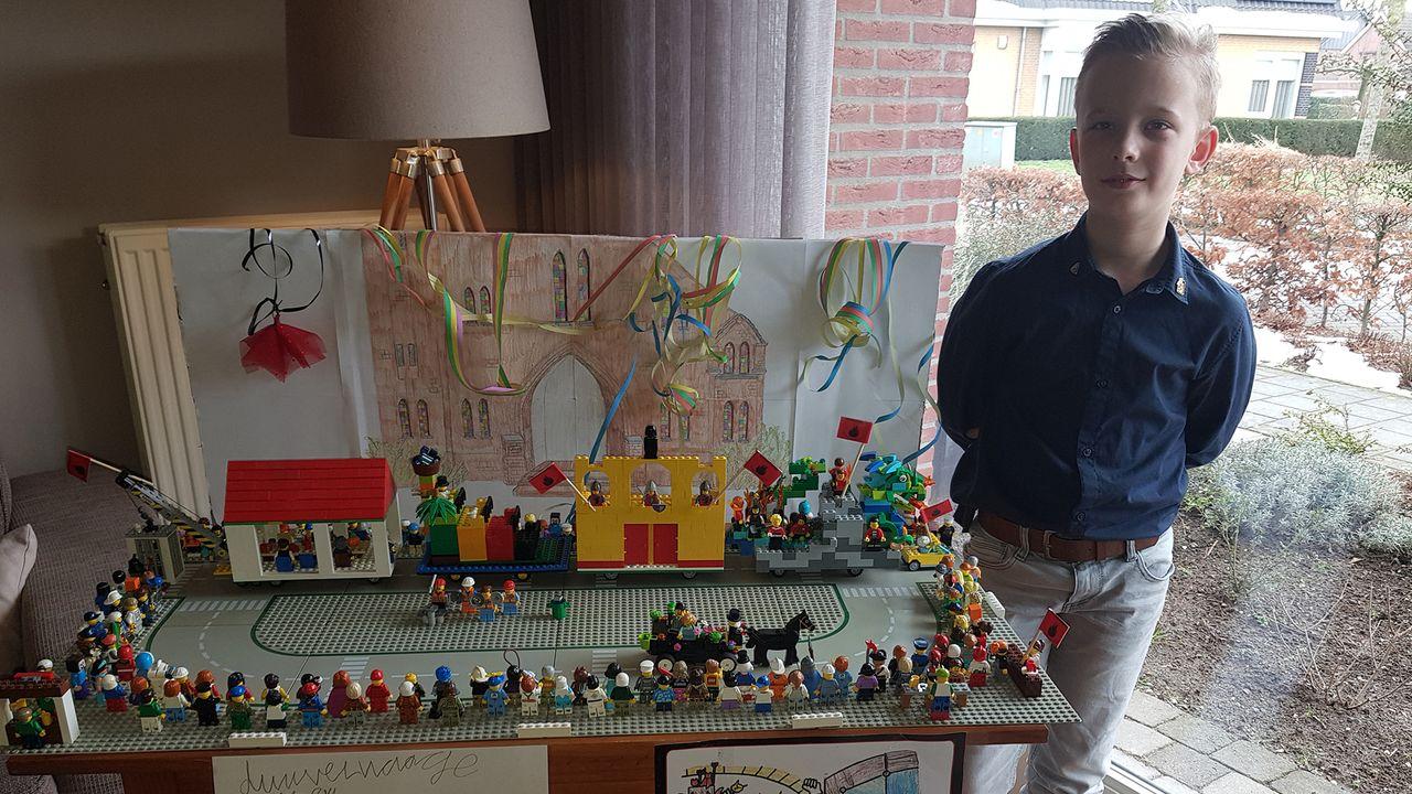 Ties (10) bouwt vastelaovesoptocht van Lego